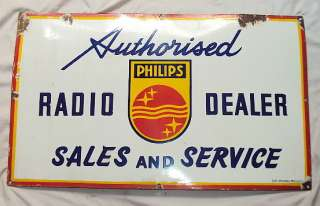 VINTAGE PHILIPS RADIO Porcelain Sign DEALERS MUSEUM QUALITY RARE SIGN