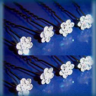 8 clear crystal rhinestone Hair Pin fork wedding bridal