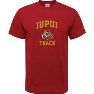 IUPUI Jaguars Cardinal Red Youth Track Arch T Shirt