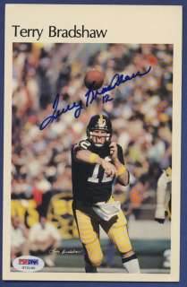 TERRY BRADSHAW Steelers Signed Mini Poster PSA/DNA