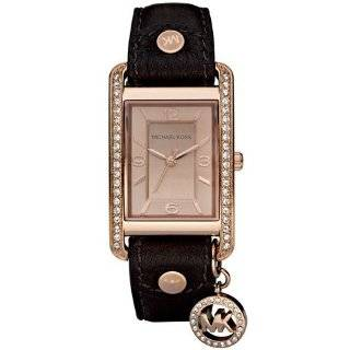 michael kors quartz leather rectangle charm with silver dial women s