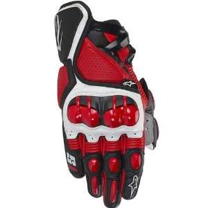 Leather Sports Bike Racing Motorcycle Gloves   Red / Small Automotive