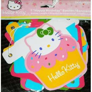 Hello Kitty Cupcake Happy Birthday Banner, 5 ft. Toys