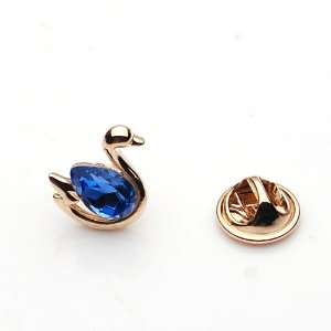 com Swan Pattern Golden and Blue Rhinestone Crystal Brooch Breast Pin