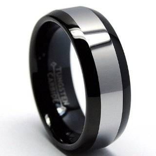 8MM Dome Two Tone Black Tungsten Ring Wedding Band Size 8.5 Jewelry