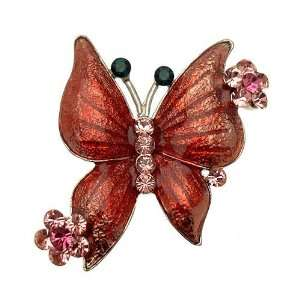 Acosta   Rich Pink Enamel   Silver Colored Butterfly Brooch Jewelry