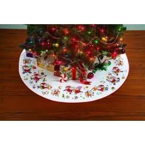 Playful Santas Tree Skirt   Cross Stitch Kit
