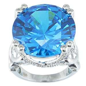 Sterling Silver Round Cut Blue Cubic Zirconia Ring, Size 7