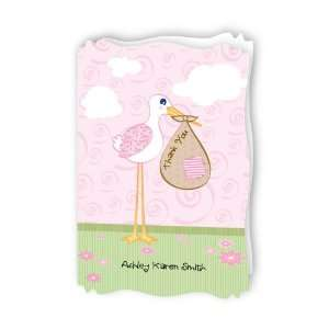 Stork Baby Girl   Personalized Baby Thank You Cards With Squiggle