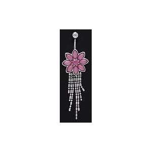 7 Petal Pink Flower Dangle Belly Navel Ring