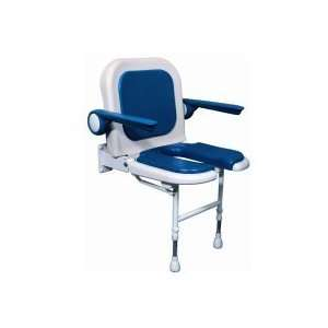 AKW Wall Mounted Fold Up Shower Chair, Padded U Shaped Seat & Back w