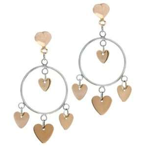 14 Karat Two Tone Gold Pink Hearts Earrings Jewelry
