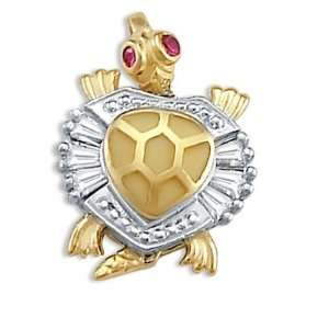 Turtle Pendant CZ 14k White Yellow Gold Charm Animal Cubic