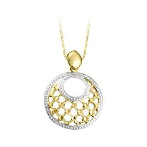 14K Two Tone Gold Diamond Cut Circle Pendant with Chain