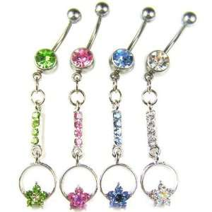 Stainless Steel Flower Belly Ring with Green CZ Jewelry