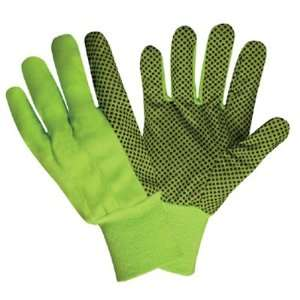 High Visibility LIME GREEN Canvas With PVC Dots Gloves (QTY/12