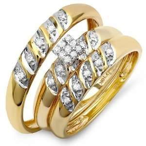 10k Yellow Gold Round Diamond Ladies & Mens His Hers Bridal Ring