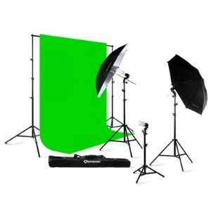 Lighting Light Kit + 10 x 10 100% Cotton Green Chroma Key