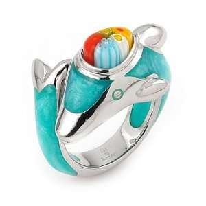 Dolphin Millacreli Murano Glass Animal Ring, Size 6 Alan K. Jewelry