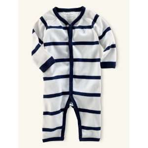 Baby Cotton Blue White Stripe Coverall Outfit, Size 3 Months Baby