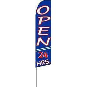 Open 24 Hours Extra Wide Swooper Feather Flag Office