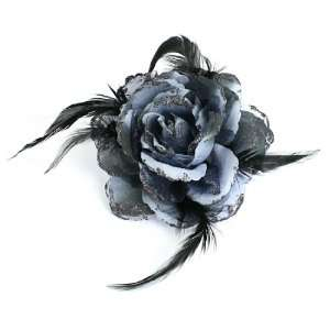 Lady Black Russian Blue Feather Flower Accent Ponytail Holder Beauty