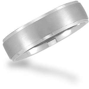 Promise Wedding Band with a Frosted Finish and Polished Edges Jewelry