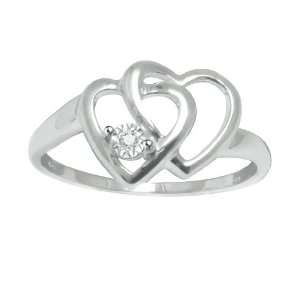 Plated Sterling Silver Double Heart Promise Ring GemBlvd Jewelry