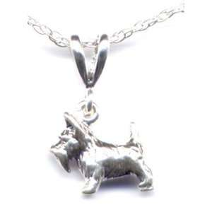 Scottish Terrier Pendant 16 Chain Necklace Sterling Silver Jewelry