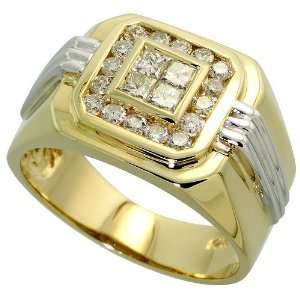 14k Two tone Gold Mens Square Ring, w/ 1.00 Carat Brilliant Cut