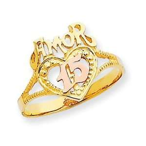 14k Two Tone Amor 15 Heart Ring   Size 7   JewelryWeb