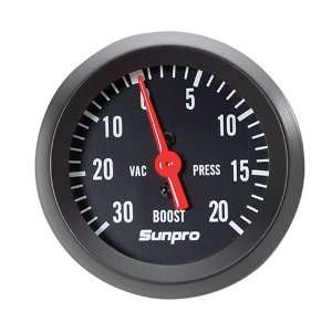 StyleLine Mechanical Vacuum/Boost Gauge   Black Dial Automotive