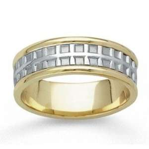 14k Two Tone Gold Always Stylish Hand Carved Wedding Band Jewelry