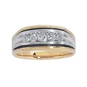 Wedding Band in 14K Two Tone Gold Mens 1/2 CT. T.W. mens diamond