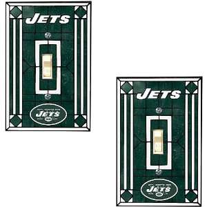 Memory Company New York Jets Art Glass Swtich Covers   Set of 2