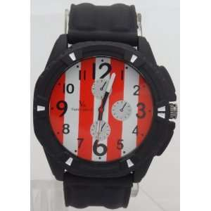 Case White N Red Dial Mens watch Black Rubber Band