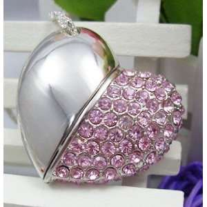 Crystal Diamond Heart Shape Jewelry USB Flash Drive with Necklace8GB