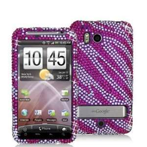 Hot Pink / Silver Zebra Bling Rhinestone Diamond Snap On