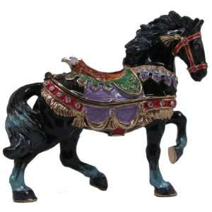 Parade Black Horses Jewelry Box