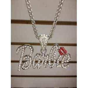 Nicki Minaj 3 BARBIE Iced Out Necklace Silver/Clear Red