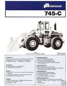 Fiat Allis 745 C loader specification sheet literature