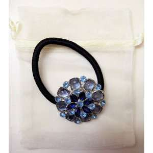 Hair Ornament   Rubber  Blue Crystals   Peony Flower