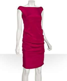 Nicole Miller magenta stretch silk boat neck dress