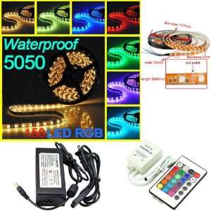 New 5 Meter 16.4 FT 12V SMD 5050 RGB LED Strip Light 150LED+24 key