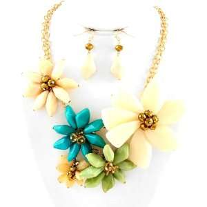 Goldtone Multi color Flower Bouquet Garden Necklace and Earring Set