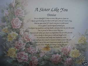 SISTER PERSONALIZED POEM BIRTHDAY OR CHRISTMAS GIFT